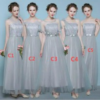 Bridesmaid dress baju pesta pengantin panjang warna pale blue grey