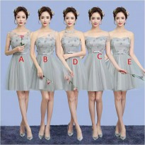 Bridesmaid dress baju pesta pengapit pengantin pendek warna abu