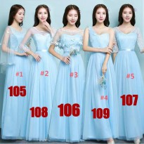 Bridesmaid dress baju pesta pengapit pengantin biru laut panjang