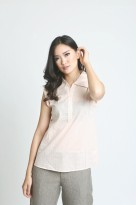 Mobile Power Ladies Plain Sleeveless Blouse - Baby Pink L8302B