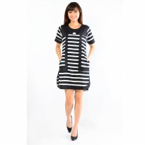 Jfashion Black n White Stripe Midi Dress - Fradella