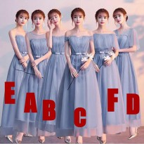 Bridesmaid party dress panjang biru abu vertical
