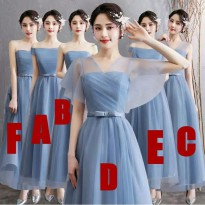 bridesmaid party dress panjang biru abu stripes