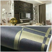 Wallpaper Sticker 10m Motif Kotak Kotak Gold Dasar Hitam