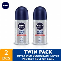 NIVEA MEN Deodorant Silver Protect Roll On 50ml - Twin Pack