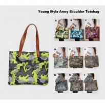 Young Style Army Shoulder Tote Bag / Tas Kerja, Kampus, Travel Pundak