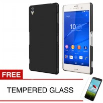 Case for Sony Xperia Z3 / D6653 (5.2') - Slim Black Matte Hardcase + Gratis Tempered Glass
