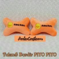 Bantal Mobil Headrest Tulang Bordir PIYO PIYO Orange