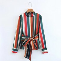 Pakaian Wanita Long Sleeve Multicolor Striped Top 66310