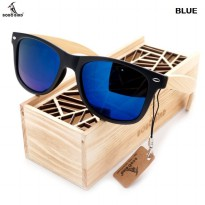 BOBO BIRD Quality Vintage Black Square Sunglasse With Bamboo Legs