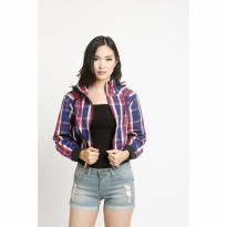 Mobile Power Ladies Plaid Cropped Bomber Jacket - Multicolor V7187