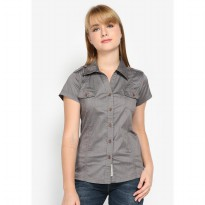 Mobile Power Ladies Basic Shirt Short Sleeve - Grey C8323