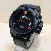Jam Quicksilver Chrono Tali Kulit Warna Hitam List Orange