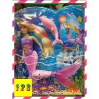 Mainan anak boneka barbie mermaid pink