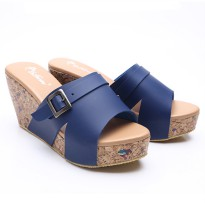 Dr.Kevin Women Wedges Sandals Leather 27338 Blue