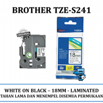 Promo Label Brother TZE-S241 Strong Adhesve Black on White 18mm Tape \ Pita