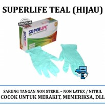 Promo Sarung Tangan Superlife Teal Hijau - Examination Gloves Best Quality