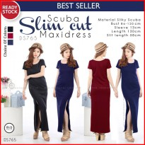 Scuba Slim Cut side Longdress Maxidress DS765