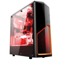 Promo Casing CUBE GAMING iKLo Black - Full Acrylic Window - 12CM Red Led Fan