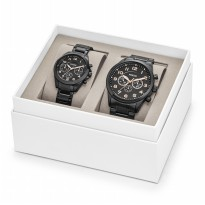 Fossil His & Her Chronograph Black Stainless Steel Watch Gift Set, BQ 2278SET