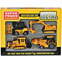 MAINAN ANAK MOBILAN METAL DIE CAST CONSTRUCTION CAR ISI 4 MOBIL