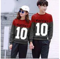 Hoodie Couple / Sweater Baju Pasangan Angka 10 Gray