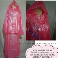 Jas Hujan Wanita Model Rok Queen Pink