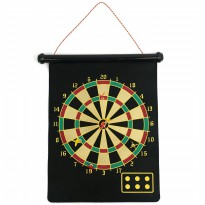 Double Sided Hanging Magnetic Dart Board Set Game 15 Inch with 6 Magnetic Arrow
