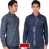 Bushido Jeans - Mens Casual Jeans Shirt - long sleeve Jeans Shirt -Indigoclusters