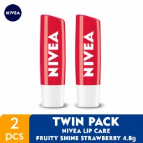 NIVEA Lip Care Fruity Shine Beauty Stick Strawberry 4.8gr - Twin Pack