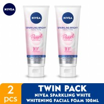 NIVEA Sparkling Bright Whitening Facial Foam 100ml - Twin Pack