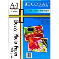 Paper Glossy CORAL A4 210GR (isi 20lembar)