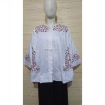 Kemeja putih bordir /real pic/blouse Putih bordir big size/blus jumbo
