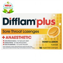 DIFFLAM PLUS ANAESTHETIC SUGAR FREE HONEY AND LEMON 16 LOZENGES UNTUK SAKIT TENGGOROKAN
