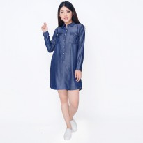 Midi Dress Fashion Gaya Korea Variasi Kancing - Jfashion Dress Chambray