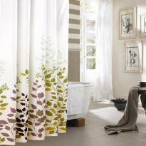 Shower Curtain Maple Leaves Tirai Kamar Mandi Anti Air Waterproof