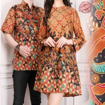 Cj collection Couple batik dress maxi pendek atasan blouse long tunik kemeja wanita mini dress dan atasan kemeja pria shirt Risa