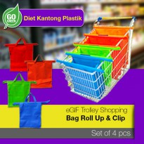 4 pcs - eGIF Trolley Shopping Bag Roll Up & Clip