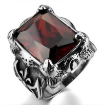 Men's Jewelry Dragon Claw Big Red Ring Titanium Steel - Cincin Pria Cakar Naga - Batu Merah