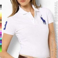 POLO COUNTRY Original C3-14 Polo Shirt Cewek Cotton Lycra Putih