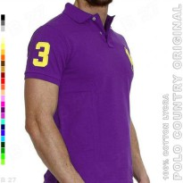 POLO COUNTRY Original C2-30 Kaos Polo Pria Cotton Lycra Ungu Tua