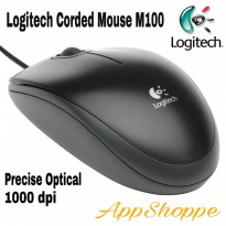 Mouse Kabel Logitech M100 1000DPI Wired USB Optical Mouse