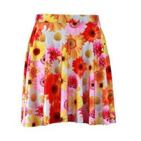 [globalbuy] Digital printing Peace and Love womens summer skirts milk silk super soft sexy/3889146
