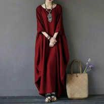 GU- Long Rihana Maroon Maxi Dress Korean Import Dress Casual Santai Or