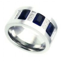 Cincin Pria Blue Crystal Ring Titanium 316L Stainless Steel