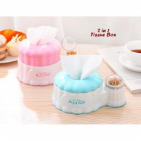 2 in 1 Tissue Box (Kotak tissue skaligus holder tusuk gigi)
