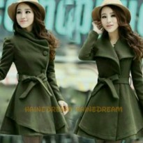 Coat Mantel Winter Wanita Jaket Green Velvet hangat