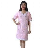 Daster Babydoll Wanita Sweet Pink With Animal Print HU01