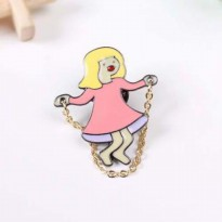 BROS 026992r Forever21 Skipping Rope Girl Cute Brooch Pink