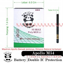 Baterai Himax Polymer Li HA-20B Maxtron M54 Apollo Double IC Protection